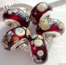 5PCS Silver Single Core Murano Lamp Glass Beads fit European Charm Bracelet A085
