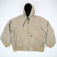 Carhartt Thermal Lined Hooded Jacket Faded Distressed Patched Workwear Mens XL?