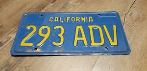 Vintage California Blue & Yellow License Plate Original CA