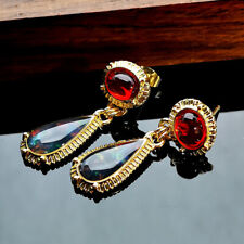 Retro Turkish Handmade 18K Yellow Gold Ruby Ear Stud Hook Dangle Wedding Jewelry