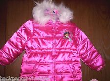 DORA The Explorer Coat size 2T NeW Satin Pink REVERSIBLE Fur Jacket Hearts Puppy