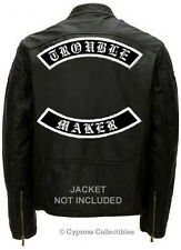 TROUBLE MAKER EMBROIDERED PATCH LARGE REBEL ROCKER IRON-ON PATCHES OUTLAW