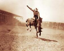 OLD WEST RODEO COWBOY JOHNNY SLATER PHOTO ON BADLANDS BURRELL RODEO 1910  #21325