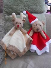CHRISTMAS. SANTA  REINDEER COMFORTER  KNITTING PATTERN  COMFORT BLANKET  BABY