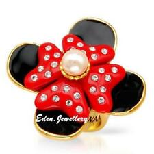 Disney Couture MAWI London MINNIE MOUSE Ring Gold Plated Pearl Crystal Size 6