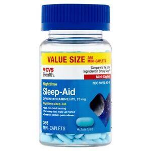 CVS Health Sleep Aid Mini Caplets Nighttime  Diphenhydramine HCl 25mg 365 CT