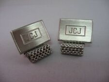 "Cufflinks: ""Jcj"" Letter Initials Vintage Men's Silver Tone"