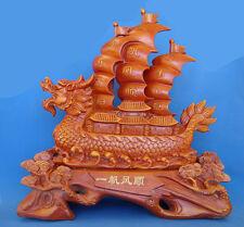 "18"" Big Wooden Like Dragon Wealth Boat"