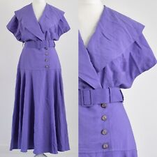 WALLIS PURPLE, SHAWL COLLAR 1980s VINTAGE LANDGIRL WRAP DRESS 12