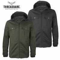 Mens Threadbare Lightweight Military Hooded Collar Zip Multi Pocket Jacket Coat