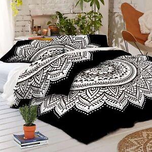 Indische weiße Mandala Doppelteppiche Bettdecken Bettwäsche ethnische Boho Decke