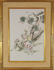 20th Century Chinese Paintig on Porcelain Plaque Hand Painted