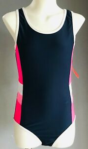 SPORTS JUNIOR Girls Navy, Pink & White Racer Back One Piece Swimsuit Size 12