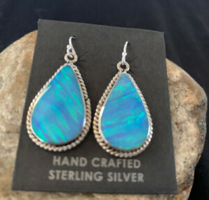 Womens Navajo Native American Sterling Silver Blue Opal Earrings Set 471 Gift