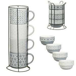 Embossed Porcelain Jumbo Stacking Mugs // Stacking Bowls Metal Stand Coffee Soup