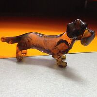 Dachshund figurine dog  blown glass handmade miniature Russia