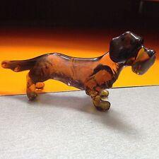 Dachshund figurine dog  blown glass handmade miniature Russia