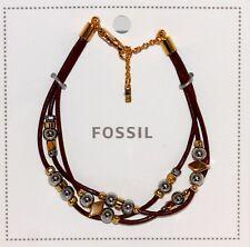 Fossil Original Armband Perlen Braun/Silber/Gold  Größenverstellbar  Neu