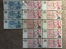 More details for czech republic: 11 x 50 korun banknotes (5x 1993, 6x 1997), 3x 20 korun 1994 czk