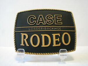 Case Rodeo Backhoe Loader Tractor Brass w/ Black Inlay Belt Buckle Construction