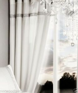 GLAMOROUS DIAMANTE BANDS PEARL WHITE 66X72 CURTAINS EYELET LINED