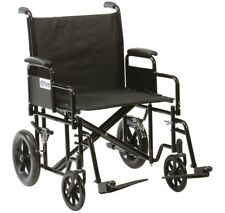 Bariatric Steel Transport Foldable Heavy Duty Transit Mobility Travel Wheelchair