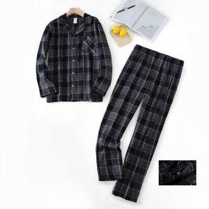 Mens Haigman 100% Cotton Flannel Long Sleeved Pajamas Pyjama Set Check Nightwear