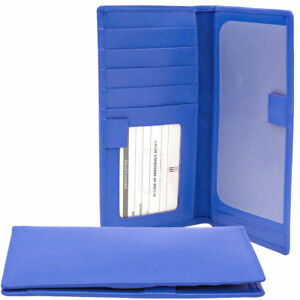 ILI Genuine Leather Checkbook Cover with RFB Card Slots and Pen Loop - Cobalt