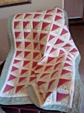 FREE SHIP. Triangles in Rose and Olive-lap/sofa/baby quilt-OOAK - 44.5 x 54.5""