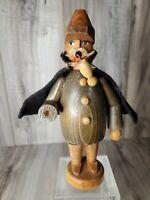 "RARE! VINTAGE ORIGINAL ERZGEBIRGE GERMAN CAPED MAN INCENSE SMOKER 7.5"" TALL"