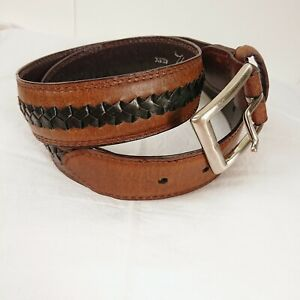 AS NEW Brown Two Tone THOMAS COOK Leather Waist Belt with Silver Buckle