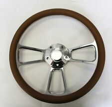 """New! 1966 Dodge Charger Tan and Billet Steering Wheel 14"""""""