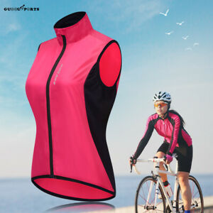 Women's Cycling Reflective Vest Windproof Bicycle Wind Coat MTB Bike Gilet Lady