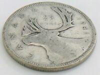 1941 Canada Twenty Five 25 Cent Quarter Silver Circulated George VI Coin K177