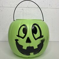 Vintage Green Halloween Pumpkin Pail Jack O Lantern Candy Bucket - Mad in USA
