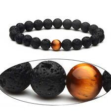 Lucky Bless Beads Bracelet Bangle Lava Stone Tiger's Eye Stone Men Woman Jewelry