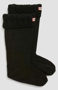 HUNTER Original 6 Stitch Cable Knitted Cuff Tall Boot Socks Black Size M NEW NIB