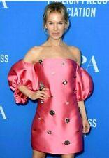 $2250 2020 Lela Rose Embellished Pink Drop Shoulder Cocktail Dress  IT 42 / US 6
