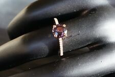 .14ct 14k Rose Gold Natural Purple Spinel & Diamond Ring Size N Vibrant Stunning