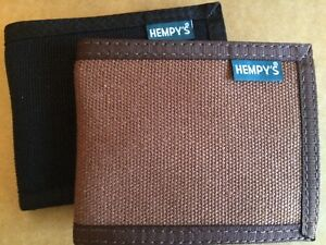 HEMP fabric WALLET Slim line USA MADE black brown HEMPY'S billfold natural Vegan
