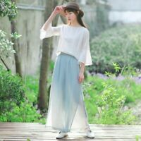 Lady Linen Loose Pants Wide Leg Palazzo Trousers Double Layer Chinese Retro Long