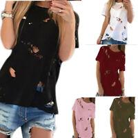 New Women Girl Beggar Ripped Distressed Short Sleeve T Shirt Top Blouse T-shirt