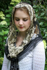 Evintage Veils~ Lovely Gold & Black Embroidered Infinity Chapel Veil Mantilla
