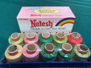 Natesh 100% Rayon Threads Designer Set 250 yards of 10 spools NEW