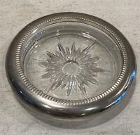 Vintage Midcentury Starburst Glass & Silver Plate Coasters (2) Leonard Italy