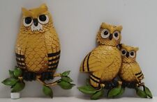 Vintage Homco Owl Family 2 Piece Wall Hangings 7403 Made in USA