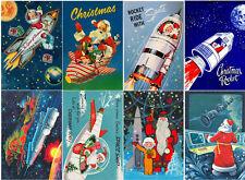"""Stickers (8pics 2.5""""x3.5""""ea) FLONZ Craft 441-0222 Vintage Christmas Santa Rocket"""