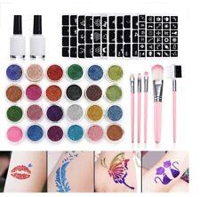XXL Profi Glitter Tattoo Set 146 Teile 125 Schablonen + 24 x Glitter Pulver