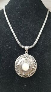 Mother of Pearl  Silver Large Pendant & rope chain Necklace Bali Style QVC