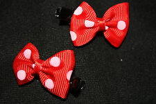 A Pair of Cute Red Hairclips With White Polka Dots - HC1011